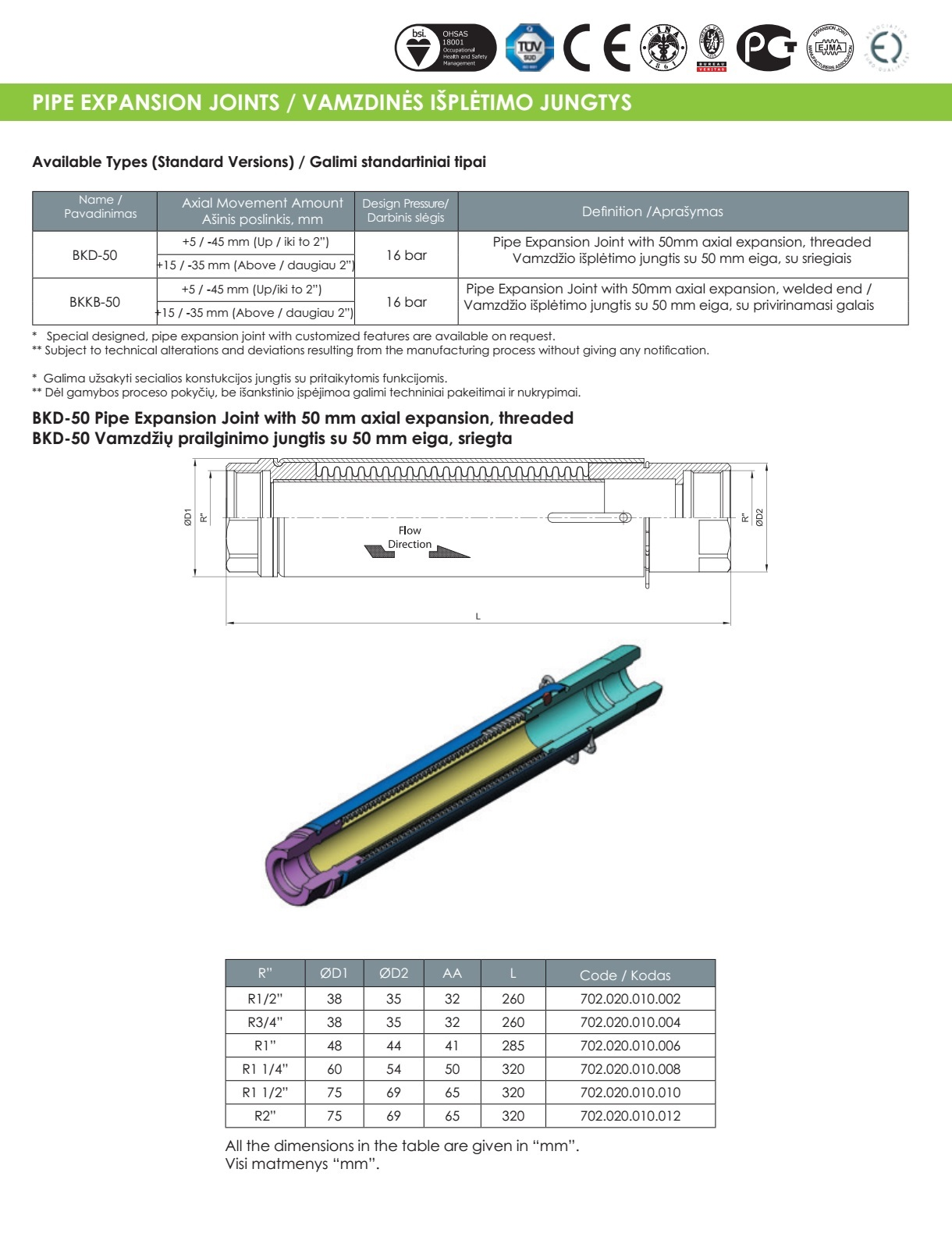 BKD-50 Pipe Expansion Joint with 50 mm axial expansion