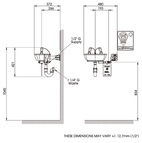 7100bt wall mounted emergency eye wash fountain elega 7100bt wall mounted emergency eye wash fountain sketch ccuart Image collections
