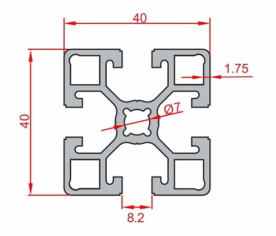 Aluminium profile Light SIGMA Profi SLOT8 40x40mm: Elega